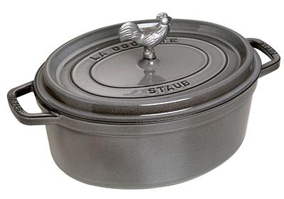 Staub 1123118 Coq Au Vin Cocotte w/ 5.75-qt, Rooster Knob & Enameled Cast Iron, Graphite Grey