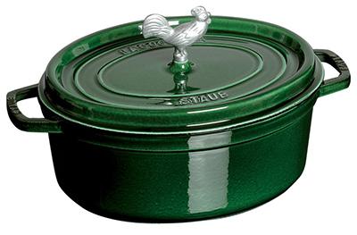 Staub 1123185 Coq Au Vin Cocotte w/ 5.75-qt, Rooster Knob & Enamel Coated Cast Iron, Basil