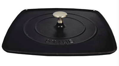 "Staub 1203123 12"" Grill Press w/ Ridges On Bottom & Cast Iron"