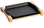 "Staub 1205223 15x9"" Brasserie Plate w/ Wood Base & Matte Enamel Coated Cast Iron"