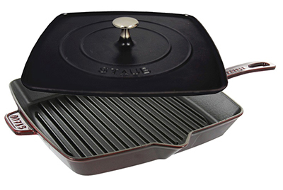 Staub 1209987 12-in Grill Press Combo, Grenadine