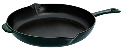 Staub 1223085 12-in Fry Pan w/ Enamel Coated Cast Iron, Basil
