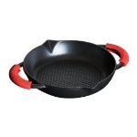 Staub 122 36 23 Enameled Cast Iron Honeycomb Frying Pan, Two Handles, 9-3/8 in, Black Matte