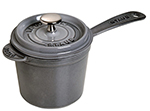 Staub 1281418 Sauce Pot w/ 1.25-qt Capacity, Heavy Lid & Enamel Coated Cast Iron, Graphite