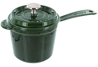 Staub 1281485 Sauce Pot w/ 1.25-qt Capacity, Heavy Lid & Enamel Coated Cast Iron, Basil