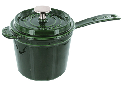 Staub 1281885 Sauce Pot w/ 3-qt Capacity, Heavy Lid & Enamel Coated Cast Iron, Basil