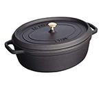 Staub 1292925 Shallow Oval Cocotte w/ 4-qt Capacity & Enamel Coated Cast Iron, Black Matte