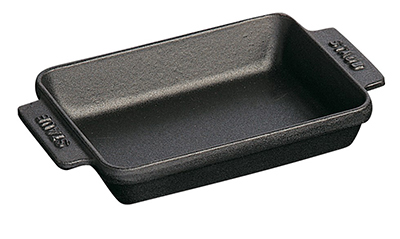 Staub 1301423 Mini Rectangular Dish w/ 8-oz Capacity & Enamel Coated Cast Iron, Black Matte