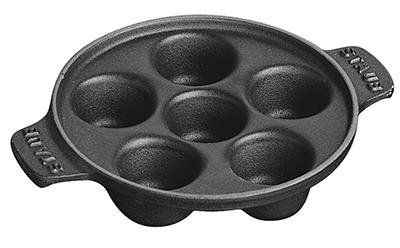 Staub 1301523 6  Hole Snail Dish, 5-3/4 in, Black