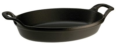 Staub 1303323 Stackable Oval Dish w/ 2-qt Capacity & Enamel Coated Cast Iron, Black Matte