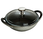 Staub 1311718 6.5-in Baby Wok w/ .50-qt Capacity & Enamel Coated Cast Iron, Graphite Grey