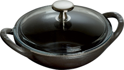 Staub 1311723 6.5-in Baby Wok w/ .50-qt Capacity & Enamel Coated Cast Iron, Black Matte