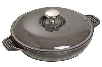 "Staub 1332018 7.88"" Round Hot Plate w/ .75-qt Capacity, Lid, Enameled Cast Iron, Graphite Grey"
