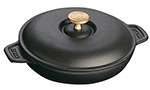 Staub 1332025 7.88-in Round Hot Plate w/ .75-qt Capacity, Lid, Enameled Cast Iron, Black Matte