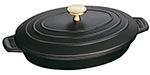 Staub 1332325 1-qt Oval Baking Dish w/ Lid, Enamel Coated Cast Iron, Black Matte