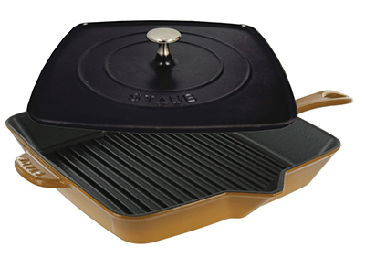 Staub 1442002 12-in Grill Press Combo, Saffron