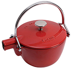 Staub 1650006 Round Teapot w/ 1-qt Capacity & Enamel Coated Cast Iron, Cherry