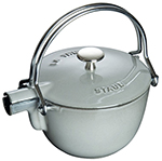 Staub 1650018 Round Teapot w/ 1-qt Capacity & Enamel Coated Cast Iron, Graphite Grey