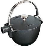 Staub 1650023 Round Teapot w/ 1-qt Capacity & Enamel Coated Cast Iron, Black Matte