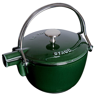 Staub 1650085 Round Teapot w/ 1-qt Capacity & Enamel Coated Cast Iron, Basil