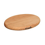 "Staub 41190712 8.25"" Magnetic Wooden Trivet for Cast Iron & Stainless Pans"