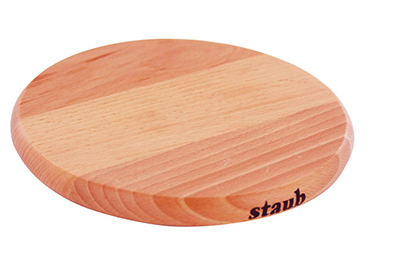 Staub 41190742 9-in Magnetic Wooden Trivet For Cast Iron & Stainless Pans