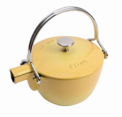 Staub 165 00 42 Enameled Cast Iron Round Teapot, 1 qt, Lemon