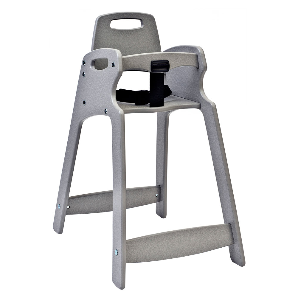"Koala Kare KB833-01-KD 29.5"" Stackable High Chair w/ Waist Strap - Plastic, Light Gray"