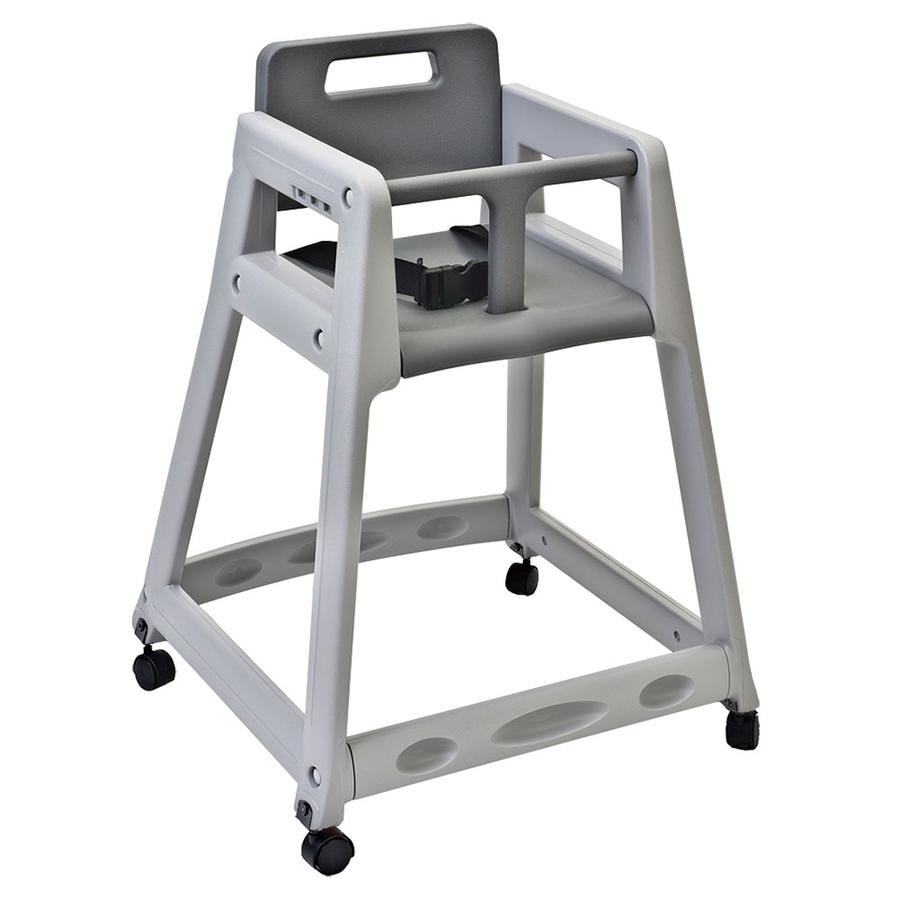 "Koala Kare KB850-01W-KD 29.38"" Stackable High Chair w/ Waist Strap & Casters - Plastic, Gray"