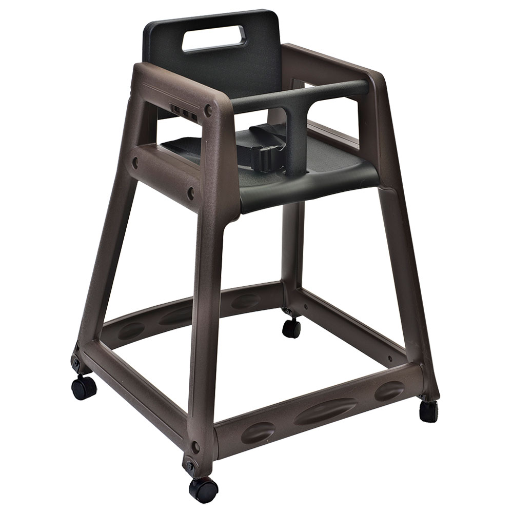 "Koala Kare KB850-09W-KD 29.38"" Stackable High Chair w/ Waist Strap & Casters - Plastic, Brown"
