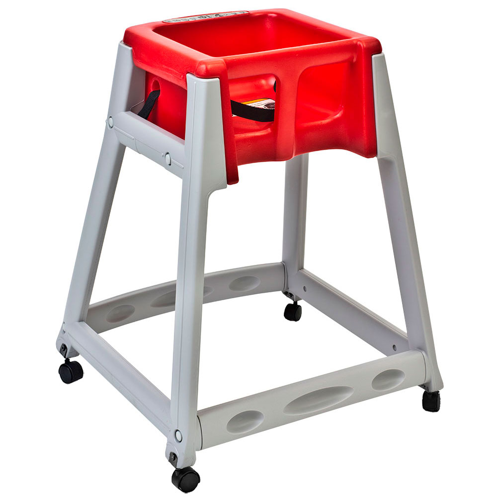 """Koala Kare KB877-03W 27"""" High Chair/Infant Seat Cradle w/ Waist Strap & Casters - Plastic, Gray/Red"""