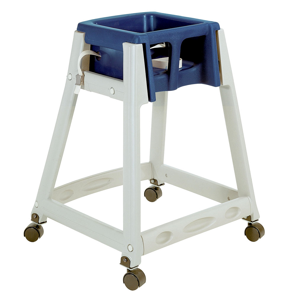 "Koala Kare KB877-04W 27"" High Chair/Infant Seat Cradle w/ Waist Strap & Casters - Plastic, Gray/Blue"