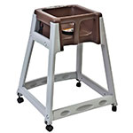 "Koala Kare KB877-09W 27"" High Chair/Infant Seat Cradle w/ Waist Strap & Casters - Plastic, Gray/Brown"