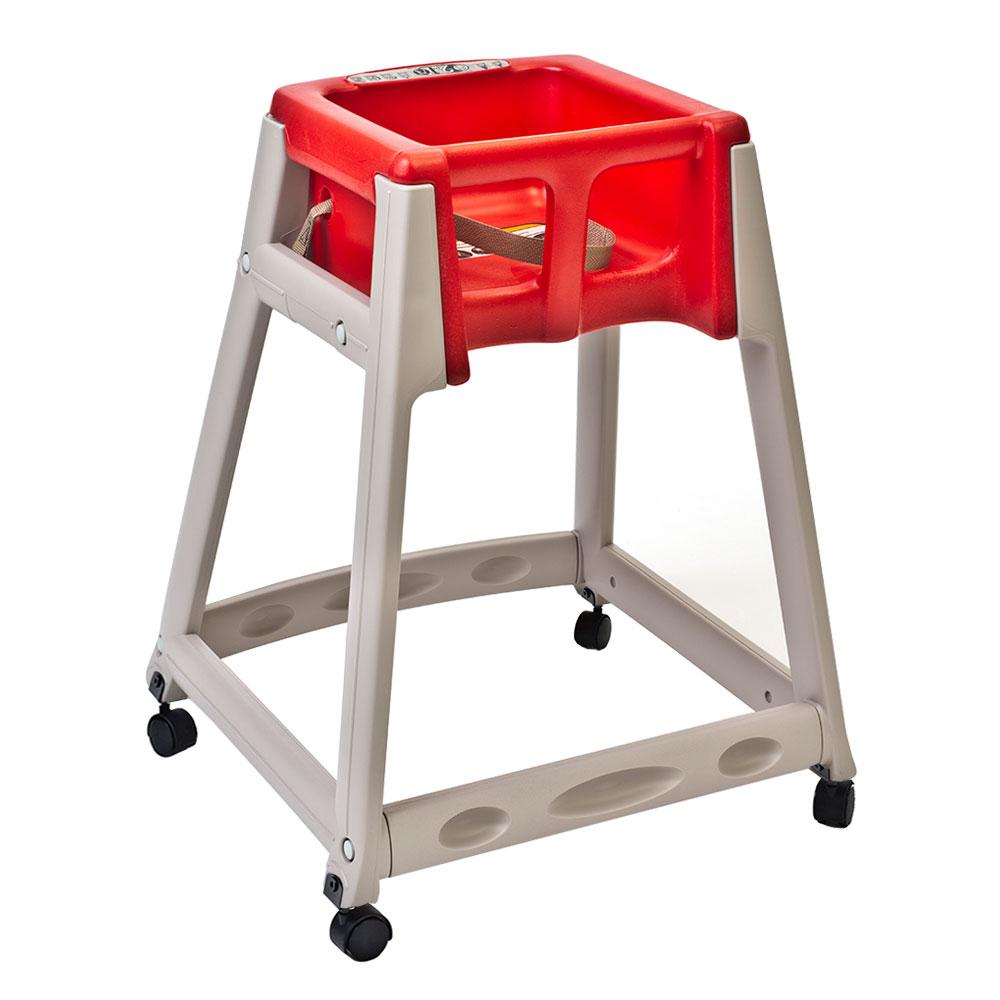"Koala Kare KB888-03W 27"" High Chair/Infant Seat Cradle w/ Waist Strap & Casters - Plastic, Beige/Red"