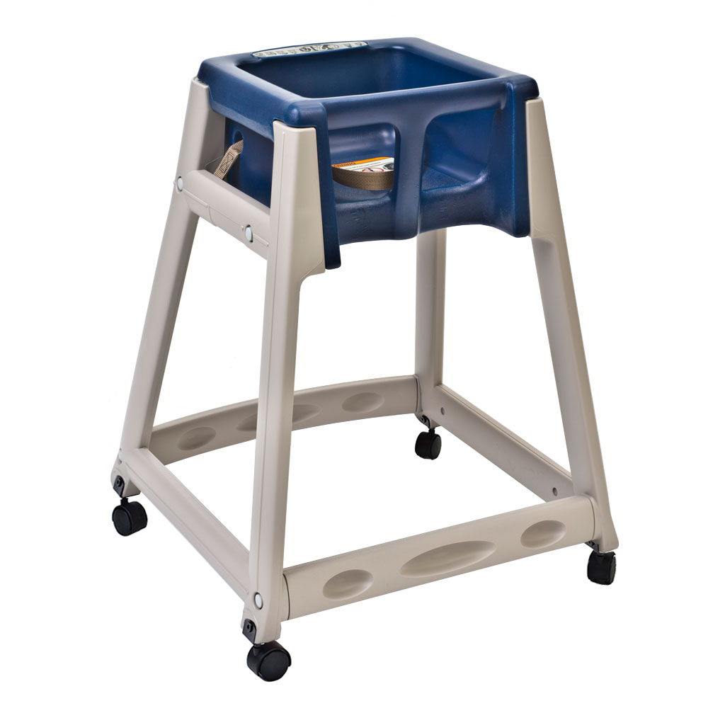 "Koala Kare KB888-04W 27"" High Chair/Infant Seat Cradle w/ Waist Strap & Casters - Plastic, Beige/Blue"