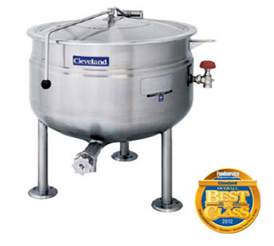Cleveland KDL-80-SH 80-Gallon Short Direct Steam Kettle w/ Open Tri-Leg Base, Full Jacket