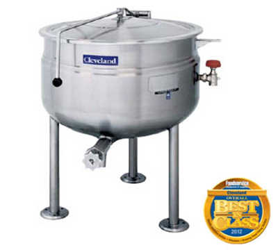 Cleveland KDL-150-F 150-Gallon Full Direct Steam Kettle w/ Open Tri-Leg Base, 35 PSI