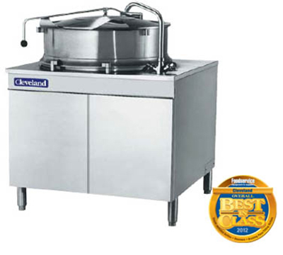 Cleveland KDM-40-T 40-Gallon Direct Steam Tilt Kettle w/ Cabinet, 2/3 Steam Jacket