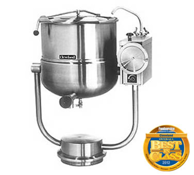 Cleveland KDP-40-T 40-Gallon Direct Steam Tilt Kettle w/ Pedestal Base, 2/3 Steam Jacket