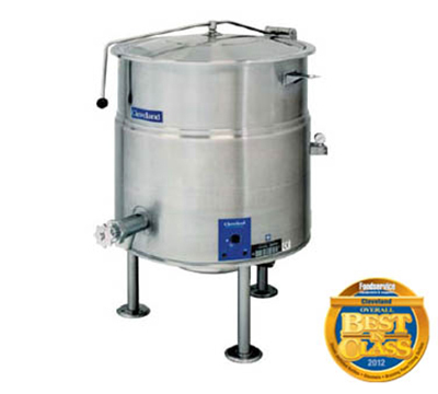 Cleveland KEL-100 2083 100-Gallon Kettle w/ Open Tri-Leg Base, 2/3 Steam Jacket, 208/3 V