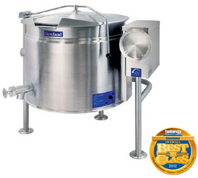 Cleveland KEL-40-TSH 2403 40-Gallon Short Tilt Kettle w/ Full Steam Jacket, Open 3-Leg Base, 240 V