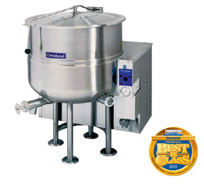 Cleveland KGL-100 NG 100-Gallon Stationary Kettle w/ Electronic Ignition, 2/3 Steam Jacket, NG