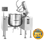 Cleveland MKDL-100-T 2403 100-Gallon Direct Steam Kettle Mixer w/ Sweep Fold Agitator, Tilt, 240/3V