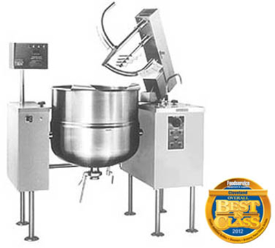 Cleveland MKDL-100-T 2083 100-Gallon Direct Steam Kettle Mixer w/ Sweep Fold Agitator, Tilt, 208/3V