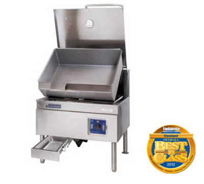 Cleveland SEM40TR 2401 40-Gallon Tilt Skillet w/ Enclosed Cabinet Base, Open Leg, 240/1 V