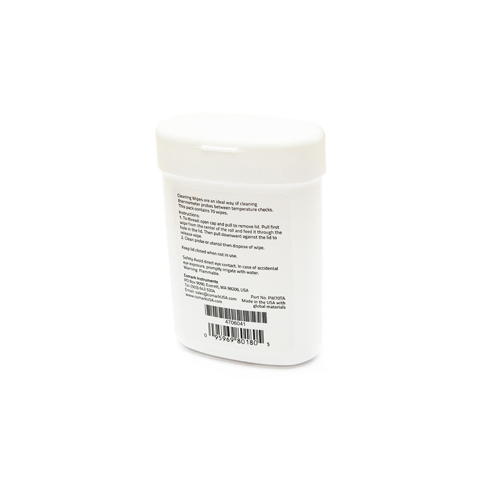 "Comark PW70TA Antimicrobial Probe Wipes, 3"" X 5 in, 70 per Container"