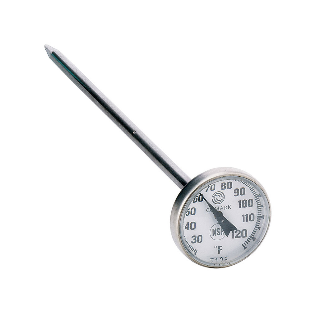"Comark T125 Pocket Thermometer w/ 1"" Dial & 5"" Stem, 25 To 125-Degrees F"