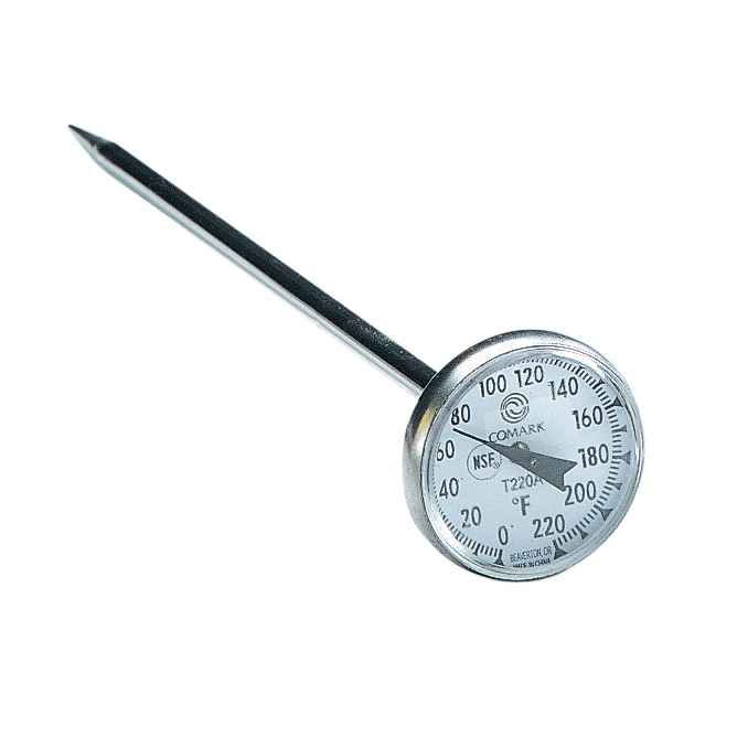 """Comark T220A Pocket Thermometer, 1"""" Dial, 5 in, Stainless, Watertight, 0 to 220 F"""