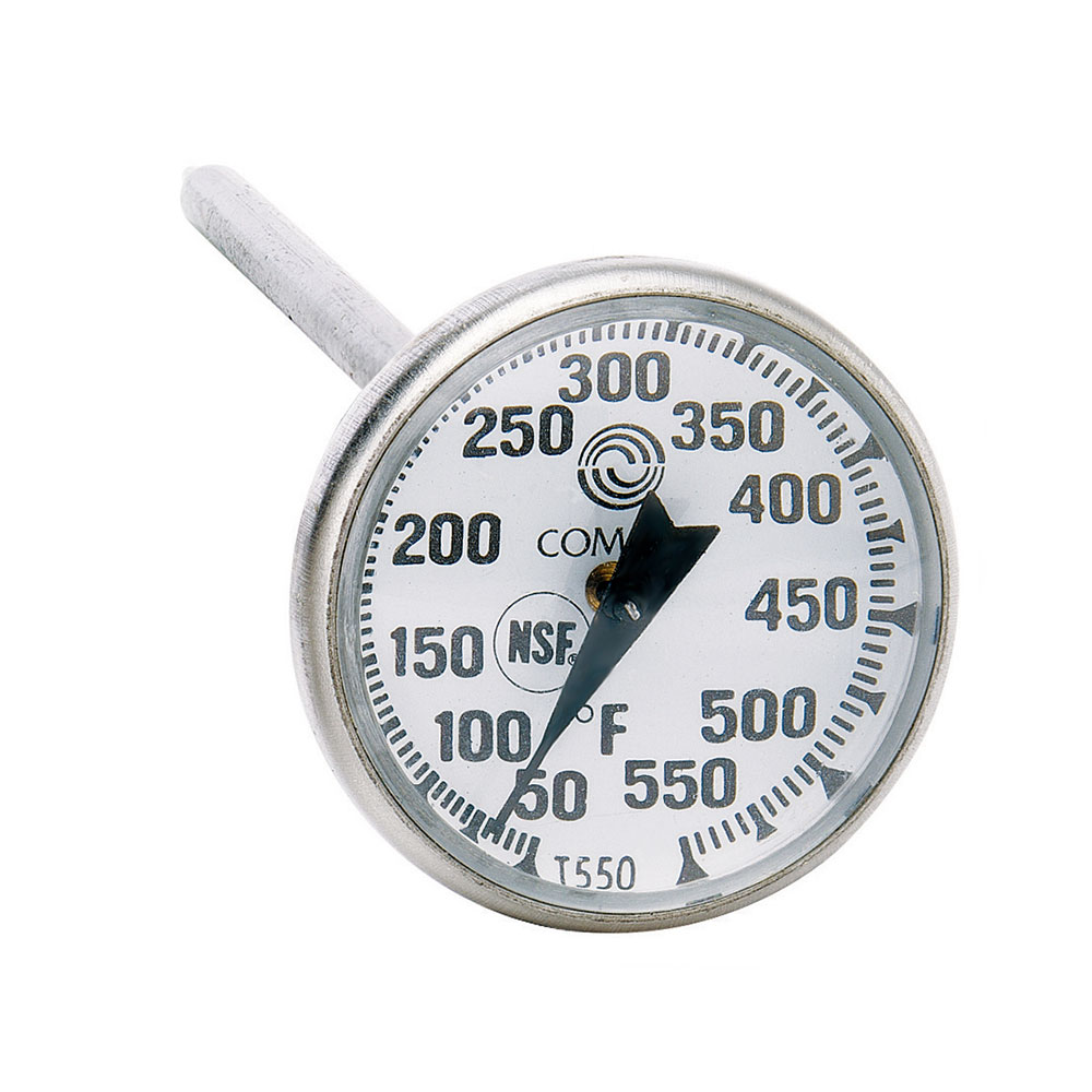"""Comark T550AK Pocket Thermometer w/ 8"""" Stem & 1"""" Dial, 50 To 550-Degrees F"""