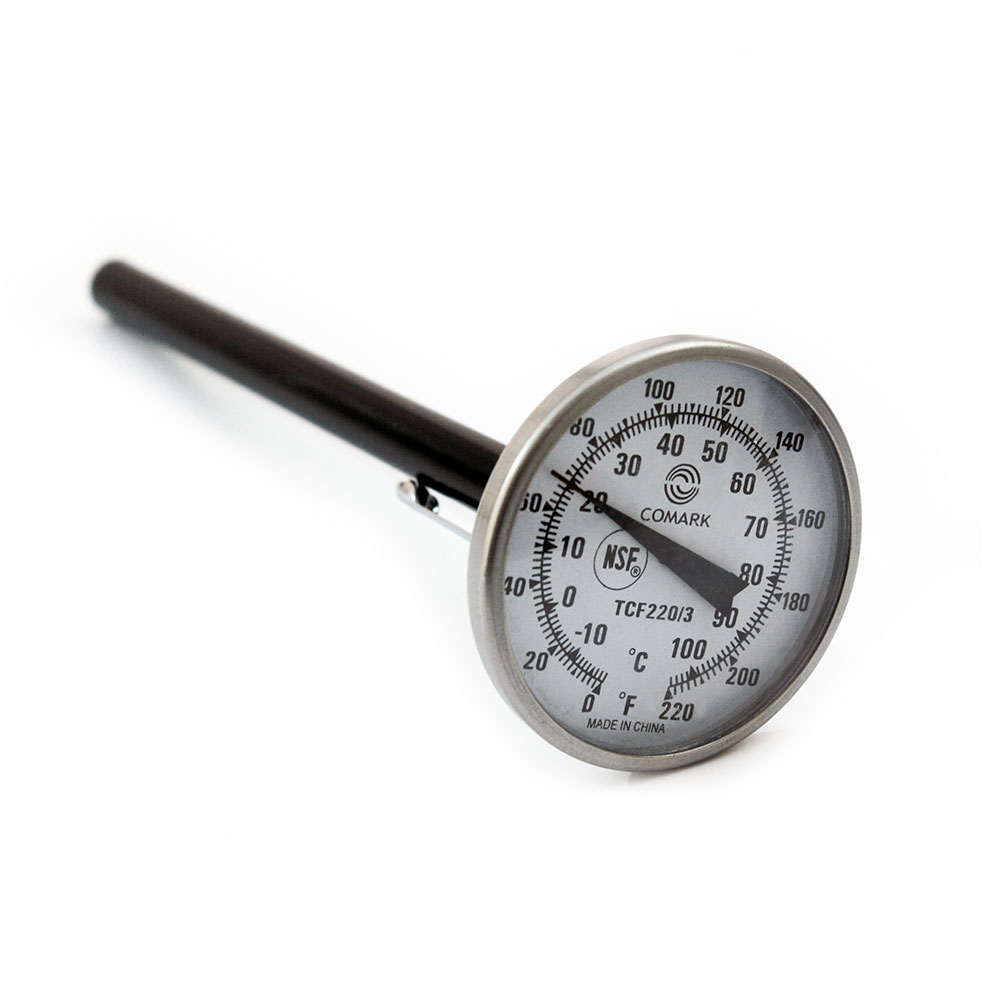 """Comark TCF220/3 Pocket Thermometer w/ 1.75"""" Dial & 5"""" Stem, 0 To 220-Degrees F"""